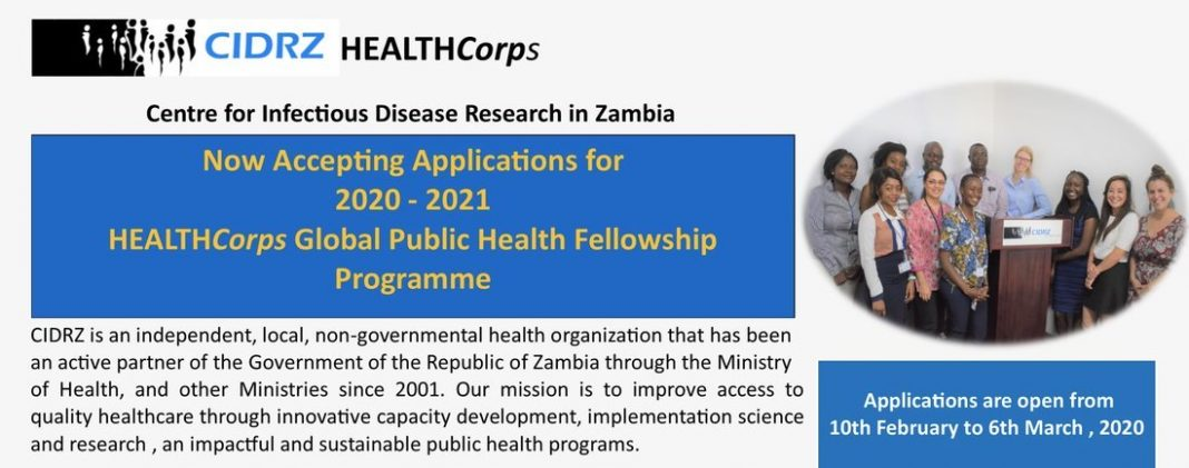 CIDRZ HealthCorps Public Health Fellowships 2020/2021 for Students & Early-Career Professionals, Zambia (Funded)