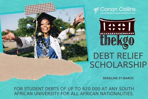Canon Collins Thekgo Debt Relief Scholarships 2020 for young Africans studying in South African Universities.