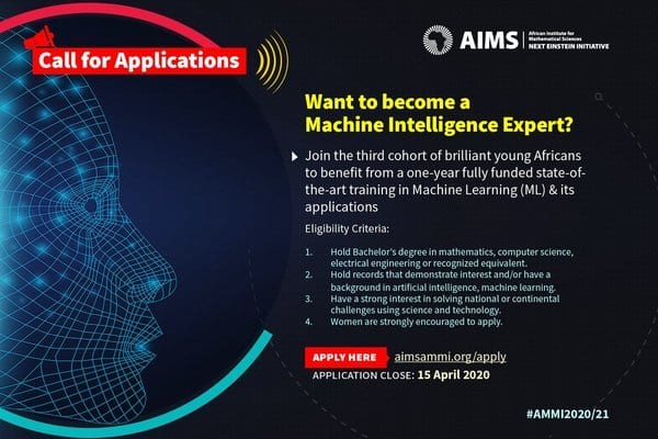 The African Institute for Mathematical Sciences (AIMS) 2020 African Masters for Machine Intelligence for young Africans (Fully Funded)