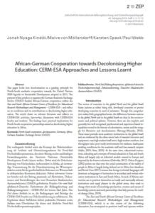 African-German Cooperation towards Decolonising Higher Education: CERM-ESA Approaches and Lessons Learnt