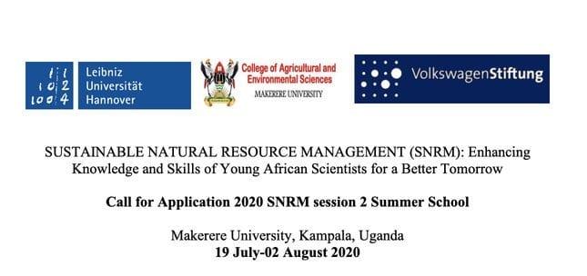 Makerere University/Leibniz Universität 2020 SNRM Session 2 Summer School (Fully Funded)