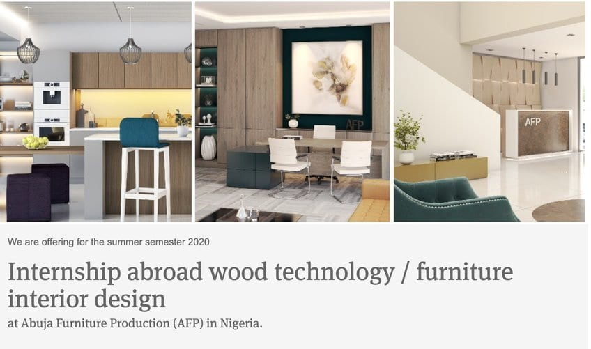 Julius Berger Nigeria 2020 Internship abroad wood technology / furniture interior design for young Nigerians (Fully Funded)