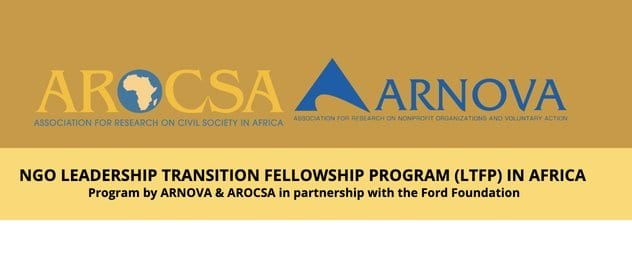 ARNOVA/AROCSA 2020 NGO Leadership Transition Fellowship Program (LTFP) In Africa (Fully Funded to USA)