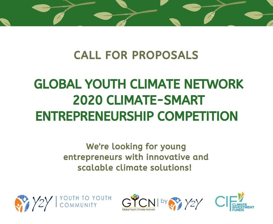 World Bank Group's Global Youth Climate Network (GYCN) 2020 Climate-Smart Entrepreneurship Competition (All paid-for round trip)