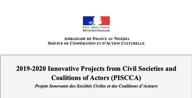 French Embassy in Nigeria Call for proposals 2020 – PISCCA Fund for Nigerian Civil Society