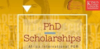 The African Leadership Centre/ King's College London Africa International PGR Scholarships 2020