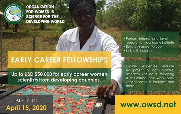 Organization for Women in Science for the Developing World (OWSD) Early Career Women Scientists (ECWS) Fellowships 2020 (USD 50,000 Award)