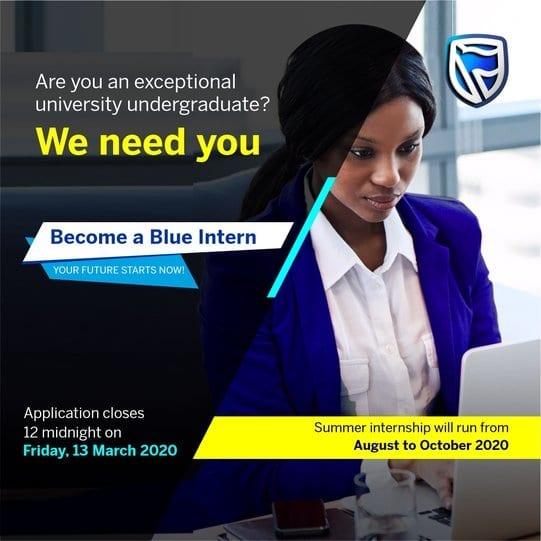 Stanbic IBTC Bank Blue Internship Program 2020 for young Nigerians.