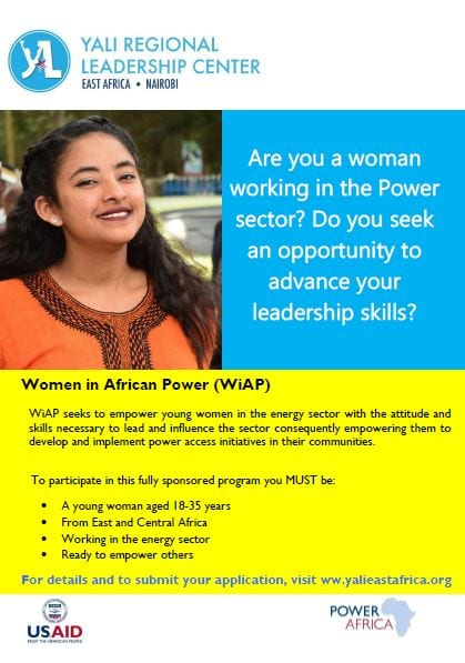 2020 YALI East Africa Power Africa's Young Women in African Power Leadership Program (Fully Funded)