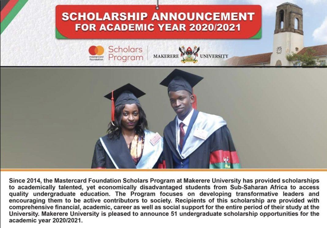 Makerere University MasterCard Foundation Scholars Program 2020/2021 for Undergraduate Study in Uganda (Fully Funded)