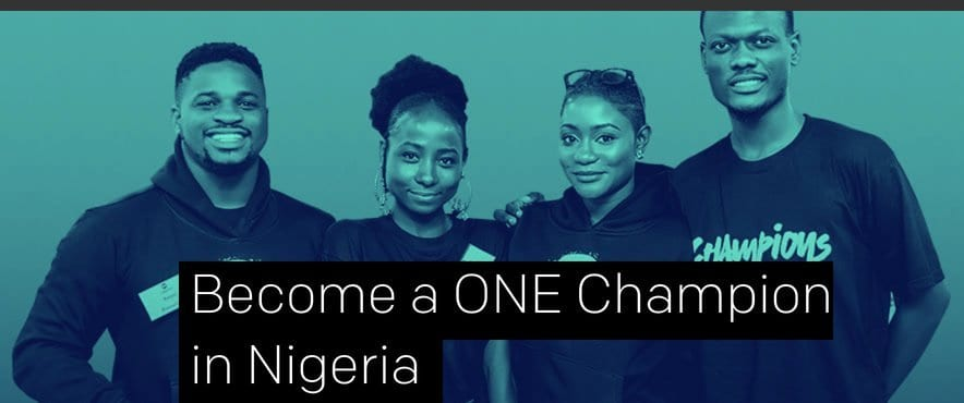 2020 ONE Champions Program in Nigeria (one-year volunteer program) for young emerging Leaders