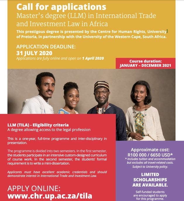 University of Pretoria LLM in International Trade & Investment Law in Africa (TILA) Scholarships 2021 for young Africans