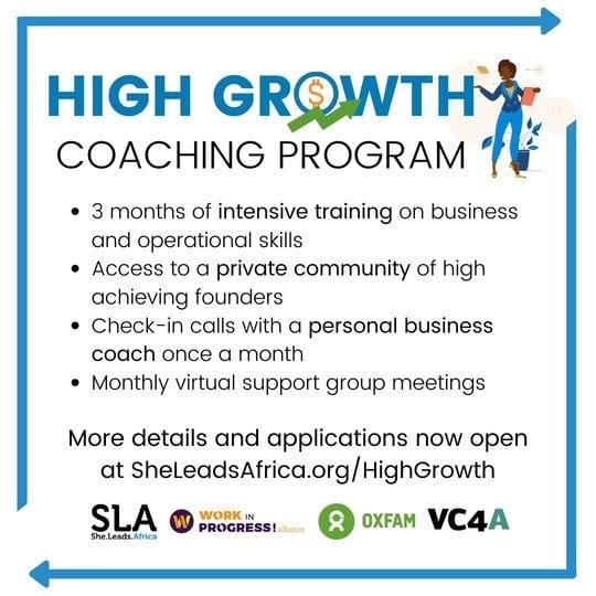 She Leads Africa (SLA) High Growth Coaching Program 2020 for young women Entrepreneurs