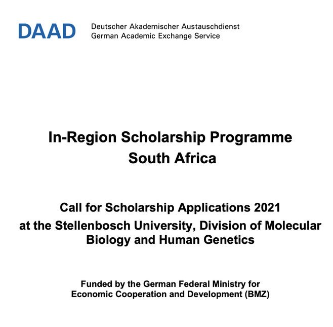 DAAD In-Region Scholarship Programme Call for Scholarship Applications 2021 at the Stellenbosch University – South Africa