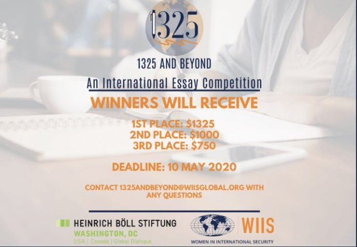 WIIS 1325 and Beyond International Graduate Student Essay Competition 2020 ($3000+ prize)