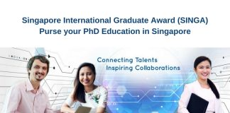 Singapore International Graduate Award (SINGA) for PhD Studies in Singapore 2021