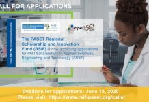 PASET Regional Scholarship & Innovation Fund 2020/2021 for PhD Scholars from Sub-Saharan Africa (Fully Funded)