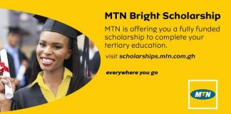 MTN Bright Scholarship Awards 2020 for young  Ghanaian Undergraduate Students