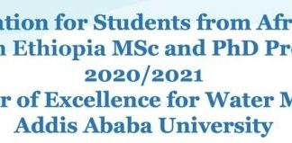 World Bank/Addis Ababa University Masters & PhD Scholarships in Water Management 2020/2021 for young African Students (Funded)
