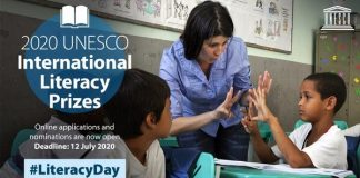 UNESCO International Literacy Prizes 2020 for Individuals and Organizations worldwide (US$20,000 cash prize)