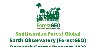 Smithsonian Forest Global Earth Observatory (ForestGEO) Research Grants Program 2020 (up to $15,000 USD)