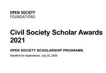 Open Society Foundation Civil Society Scholar Awards (CSSA) 2021 for Doctoral Students & University Faculty.