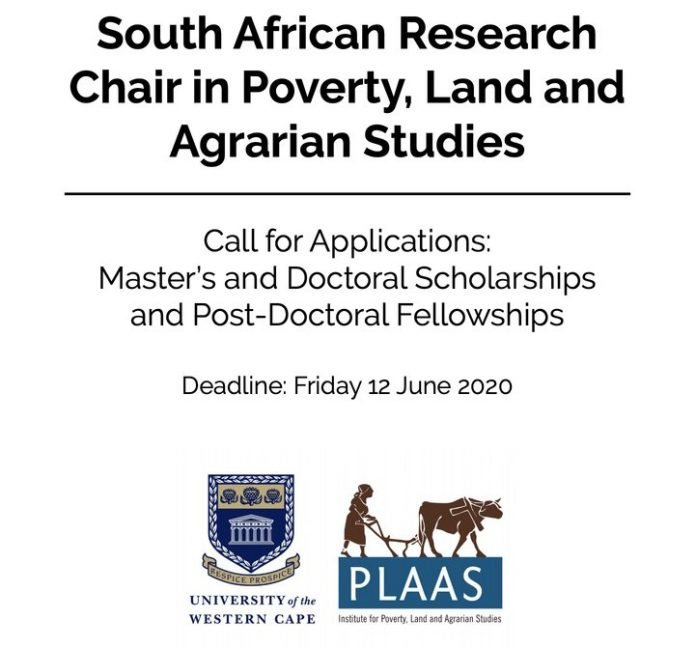 PLAAS Call for Applications: Master's and Doctoral Scholarships and Post-Doctoral Fellowships at the University of the Western Cape, South Africa (Funded)