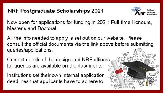 NRF's Postgraduate (Master's & Doctoral) Scholarships 2021 for study in South Africa