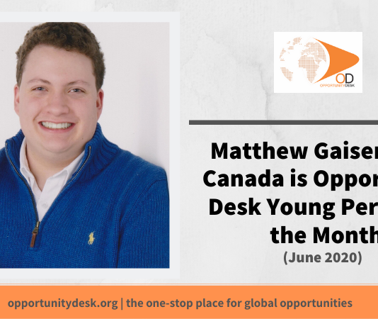 Matthew Gaiser from Canada is OD Young Person of the Month for June 2020!