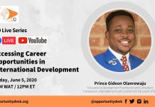 OD Live with Prince Gideon Olanrewaju: Accessing Career Opportunities in International Development – June 5, 2020