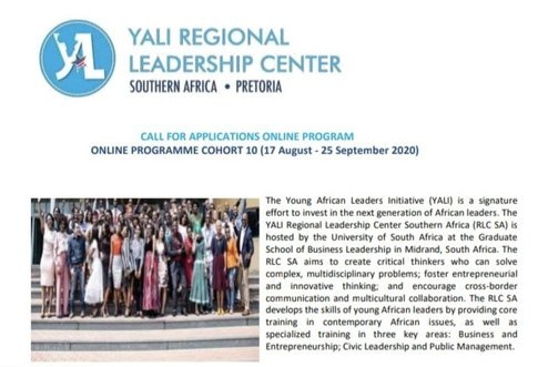 Young African Leaders Initiative (YALI) RLC Southern Africa Emerging Leaders Program 2020 – Online Cohort 10