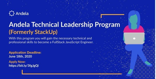Andela Technical Leadership Program (StackUp) Cohort 4 for young Rwandans
