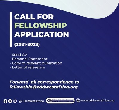 Centre for Democracy and Development (CDD) Fellowships 2021/2022 for young Africans