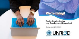 UNRISD is seeking a Senior Gender Justice and Development Consultant