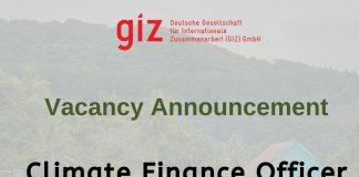 Hot Job: GIZ-CCCPIR is hiring a Climate Finance Officer