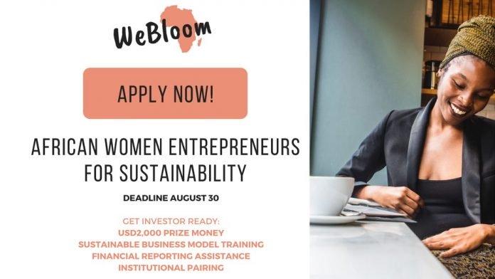 WeBloom Africa call for impact driven African women Entrepreneurs (2,000 USD)
