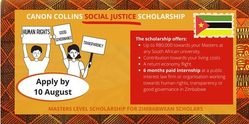 Canon Collins Trust Social Justice Scholarships 2021 for young Zimbabweans to study in South Africa (Fully Funded)