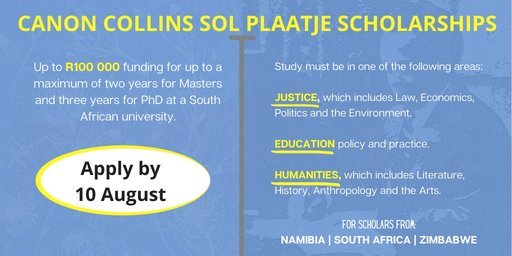 Canon Collins Trust Sol Plaatje Scholarships 2020/2021 for Postgraduate Study in South Africa (Funded)