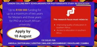 Canon Collins RMTF Scholarships 2021 for Postgraduate Study in South Africa (Funded)