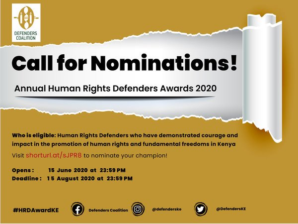 Call for Nominations: The Human rights Defenders Award 2020
