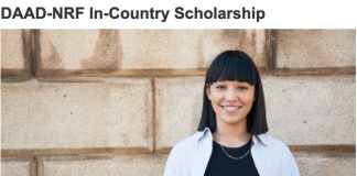 DAAD-NRF Joint In-Country Master's and Doctoral Scholarships 2020/2021 for young South Africans.
