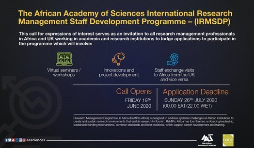 The African Academy of Sciences International Research Management Staff Development Programme 2020