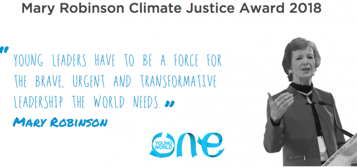 Mary Robinson Climate Justice Award 2020 for young leaders (Fully Funded to One Young World Summit 2021 in Munich, Germany)
