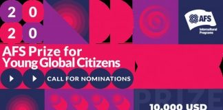 AFS Global Citizen Prize 2020 for young Leaders ($USD 10,000 cash prize)