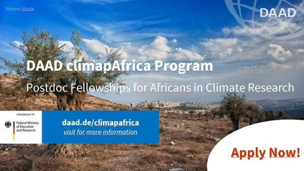 DAAD ClimapAfrica Postdoc Fellowship 2020 for Africans in Climate Research (Fully Funded)