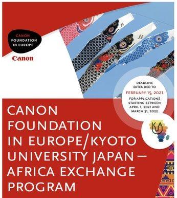 Canon Foundation-Kyoto University Japan-Africa Exchange Program 2021 (27,500 Euro per year in Funding)