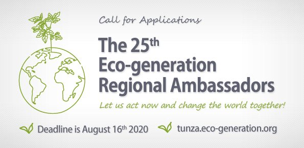 Tunza Eco-generation 25th Eco-generation Regional Ambassadors Program 2020/2021