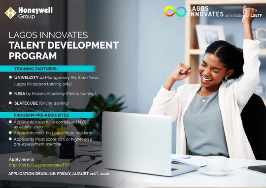 Lagos Innovates Talent Development Program 2020 for young Entrepreneurs