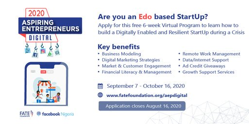 FATE Foundation Aspiring Entrepreneurs Digital Programme 2020/2021 for young Nigerian Entrepreneurs