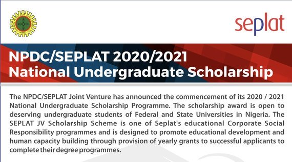 The NNPC/Seplat National Undergraduate Scholarship Programme 2020/2021 for young Nigerians